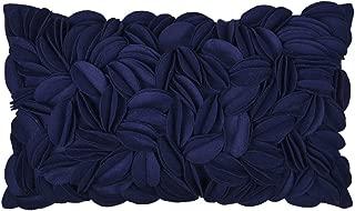 King Rose Handmade 3D Flower Throw Pillow Cover Home Decorative Cushion Cover Rectangular Pillowcase Artwork Cushion Sham for Sofa Couch Chair Bed Living Room 12 x 20 Inches Wool Navy Blue