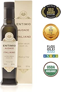 Entimio Audace | Medium-Robust Organic Olive Oil Extra Virgin | 2018 Harvest Italian Olive Oil from Italy, Tuscany, 2019 Gold Award | First Cold Pressed, Rich in Antioxidants | 8.5 fl oz
