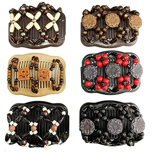 Jurxy 6 Pack Women Magic Combs Wood Beaded Stretch Double Side Hair Combs Clips Bun Maker Hair Accessories Thick Stretchy Hair Clip Easy Fancy Magic Double Comb