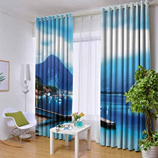 hengshu Country Wear-Resistant Color Curtain Italian Village with Harbor and Sail Boats Magical Countryside Cottage Life Rural Photo 2 Panel Sets W108 x L84 Inch Blue