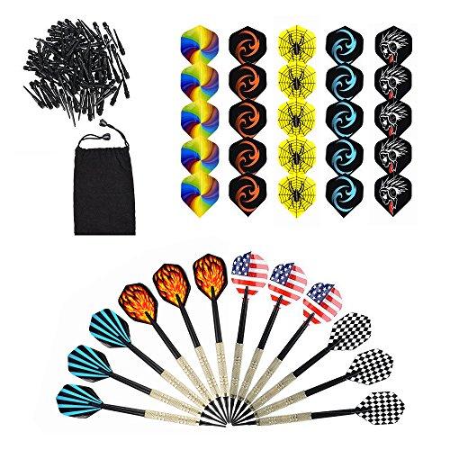 moonlux Freccette, 12 Dart Set con di Punte Plastica, Acciaio Corpo, Aste di Alluminio, Extra 30 Alette e 100 Punte Plastica, Freccette Professionali, Set da Regalo per Gioco di Freccette