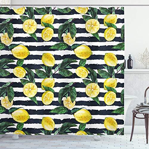 ABAKUHAUS Modern Duschvorhang, Frische Zitronen gestreift, mit 12 Ringe Set Wasserdicht Stielvoll Modern Farbfest & Schimmel Resistent, 175x220 cm, Jägergrün Indigo Gelb