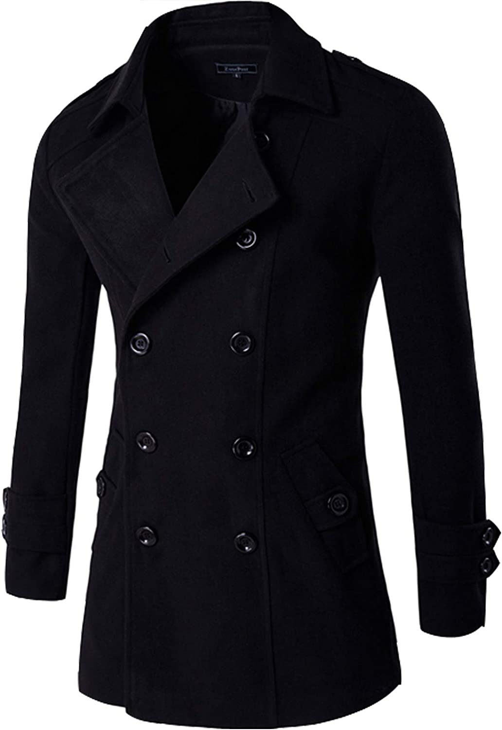 Men Regular Fit Wool Trench Coat Double Breasted Button Blend Wool Overcoat