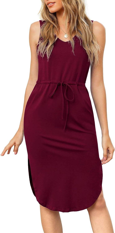 LILBETTER Women's Casual V-Neck Sleeveless Side Split Drawstring Waist Midi Length Vest Dress with Pocket