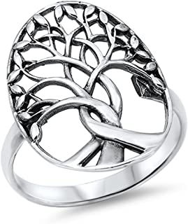 CHOOSE YOUR COLOR Sterling Silver Tree of Life Ring