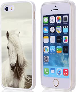 for iPhone SE Case Horse,Gifun Anti-Slide and Drop Protection Soft TPU Premium Flexible Protective Case for iPhone SE/5S/5 - Fashionable Hair White Horse