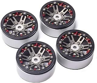 4PCS CNC 1.9'' Aluminum Beadlock Wheel Rims for 1/10 RC Crawler Car Traxxax TRX4 (Black+Titanium)