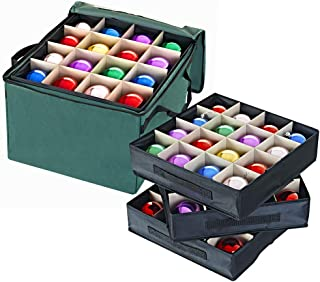 ProPik Holiday Ornament Storage Box Organizer Chest, with 3 Separate Removable Trays Holds Up to 48 Ornaments Balls, Three Separated Trays with Dividers to Organize Bulbs (Green)