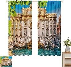 Mozenou Italy, Thermal Insulating Blackout Curtain, Fountain Di Trevi Famous Travel Destination Tourist Attraction European Landmark, Blackout Draperies for Bedroom Multicolor