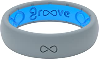 Groove Life - Silicone Ring for Men and Women Wedding or Engagement Rubber Band with Lifetime Coverage, Breathable Grooves, Comfort Fit, and Durability - Thin Solid