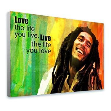 """Alonline Art - Bob Marley #2 Jamaican Reggae Quote by Alonline DSN   print on canvas   Ready to frame (synthetic, Rolled)   21""""x16"""" - 54x41cm   Wall art home decor for office or for nursery   HD"""