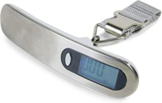 CoreLife Digital Hanging Luggage Scale with Hook - 110 Lbs - Portable Baggage Weight Scale (Silver/White)