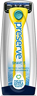 Preserve Shave 5 Five Blade Refillable Razor, Made from Recycled Materials, Sunshine Yellow