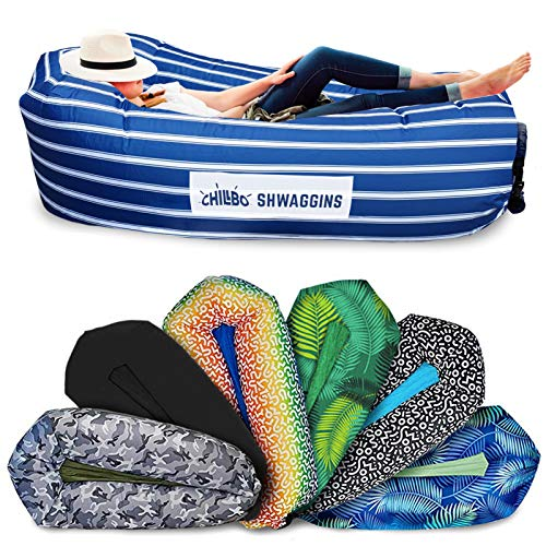 Chillbo Shwaggins Inflatable Couch – Cool Inflatable Chair. Upgrade Your Camping Accessories. Easy Setup is Perfect for Hiking Gear, Beach Chair and Music Festivals. (Nautical Blue)
