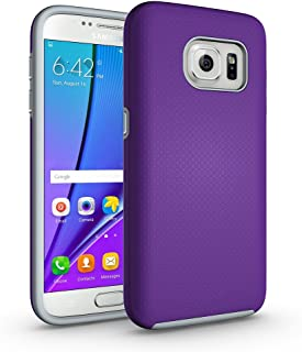 Galaxy S7 Non-Slip case, ACMBO Rugged Heavy Duty Armor Case Hybrid Dual Layer Hard PC + Soft Rubber Shockproof Dots-Antiskid Bumper Cover for Samsung Galaxy S7 G9300, Purple