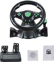 FT22 Racing Wheel, 180 Degree Racing Steering Computer Game Steering Wheel with Responsive Pedals Simulation Racing Drivin...