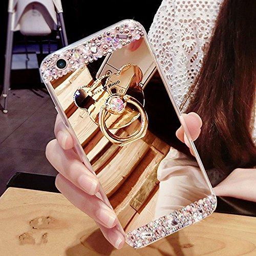 HMTECH iPhone SE/iPhone 5 5S Funda Bling Glitter Silicona TPU Cromado Espejo Mirror Makeup Suave Flexible Shockproof Slim Cuero Caso Carcasas para iPhone SE/5 5S,Gold Mirror TPU with Bear Holder