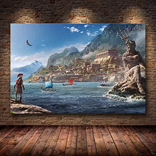yiyiyaya Frameless DIY vorgedruckte Leinwand Assassin's Creed stammt von -60cmX90cm (No_Frame) _09 auf HD
