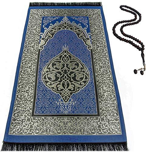 BAYKUL Muslim Prayer Rug - Islamic Turkish Prayer Rugs - Great Ramadan Gifts-Prayer Mat for Women and Men-Islam Carpet-Portable Muslims Mats-Praying Rugs Islam with Beads-Gift Prayer Beads 99 (D.Blue)