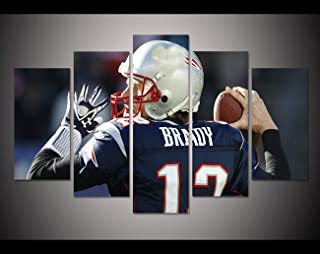 JESC 5 Panel HD Printed Canvas Painting Tom Brady Sport Poster Canvas Print Modern Home Decor Wall Art Picture for Living Room