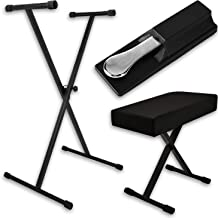 Piano Keyboard Accessories Kit — Stand, Bench and Pedal — Fully-adjustable stand & bench w/universally-compatible sustain pedal — Great gift for beginners and advanced music players