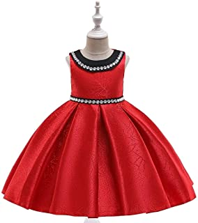 SEASHORE Princess Skirt Girl Bow Holiday Party Satin Flower Girl Wedding Performance Piano Costume 4-12 Years Old (Color : Red, Size : 8-9T)