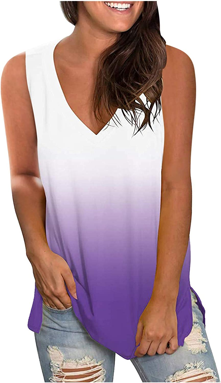 Womens Summer Tops Women's Casual Printing V-Neck Gradient Sleeveness Tops Loose Vest Blouses Juniors Girls