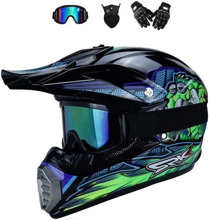 Bmaq Herren Motocross Helm Crosshelm Motocross Mit Visier Brille Handschuhe Maske Enduro Quad Mountainbike Helm Für Downhill Geeignet Blau L 57 58cm Sport Freizeit