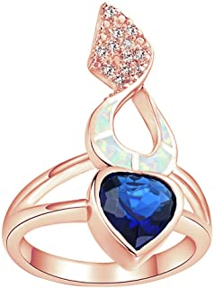 Sinlifu Love Heart Rose Gold CZ Sapphire Drop Earrings Silver Plated Opal Ring Pendant Necklace Jewelry