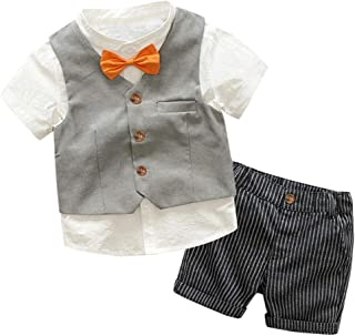 Fairy Baby Boys Formal Summer Outfit 4pcs Clothes Set Kid Tops Shirt+Vest+Bow+Shorts Set