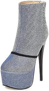 Enkellaarzen Vrouwen, Dames Platform Sexy Laarzen, Ronde Neus Stiletto Hoge Hakken Damesschoenen,Purple,37