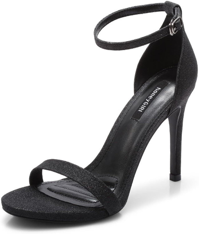DFUCF Women Sexy High Heels Party Wedding Pumps Sandals Open Toe Word Buckle