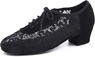 """Buge Women's Practice Ballroom Dance Shoes Closed Toe lace-up Salsa Latin Shoe with 1.6"""" Heel"""