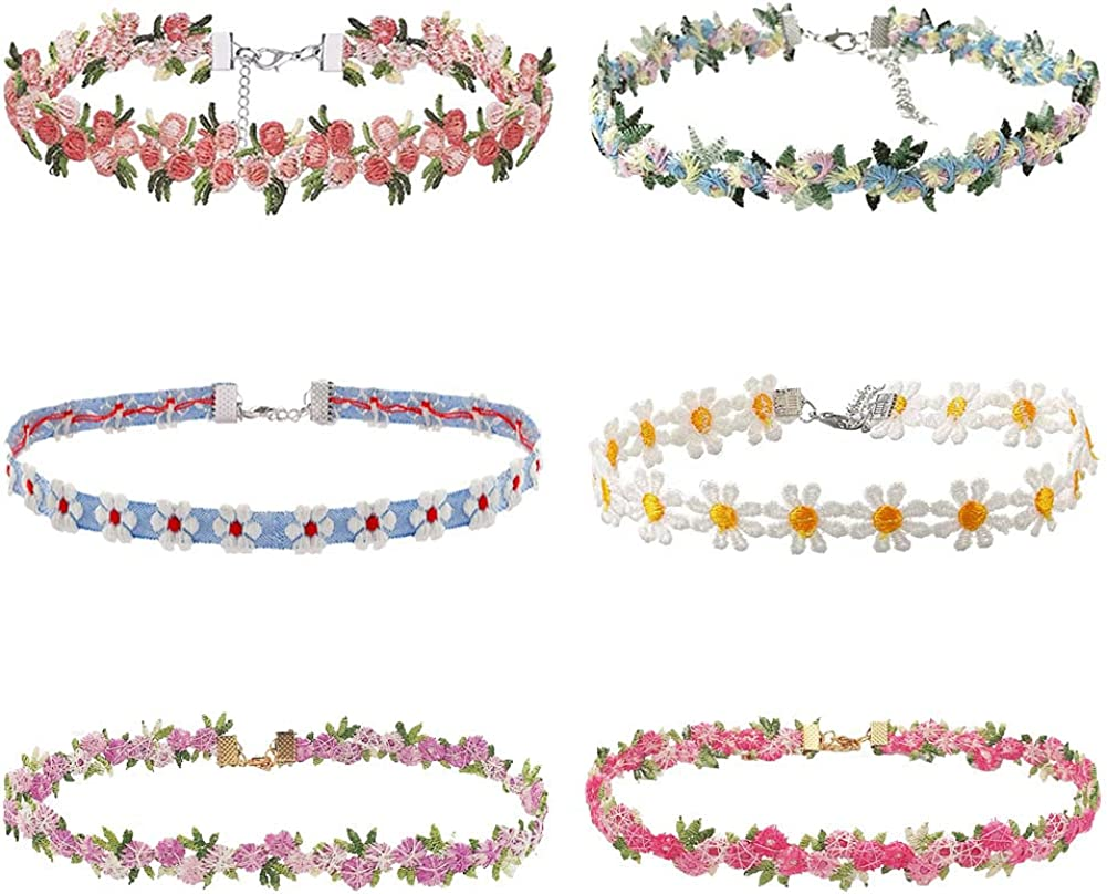nylry 6 Pcs Colorful Lace Lolita Choker Set Y2k Daisy Flower Choker Necklaces Adjustable Vintage Gothic Floral Chokers for Women Girl Jewelry Gift Pack