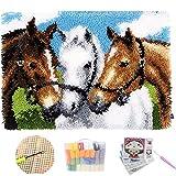 WZSBH Alfombra manual de almohada de regalo para Navidad 5D DIY tres caballos bordado hilo ganchillo nudos alfombras antideslizantes, kit de gancho para puerta de baño, para niños, adultos, 85 x 63 cm