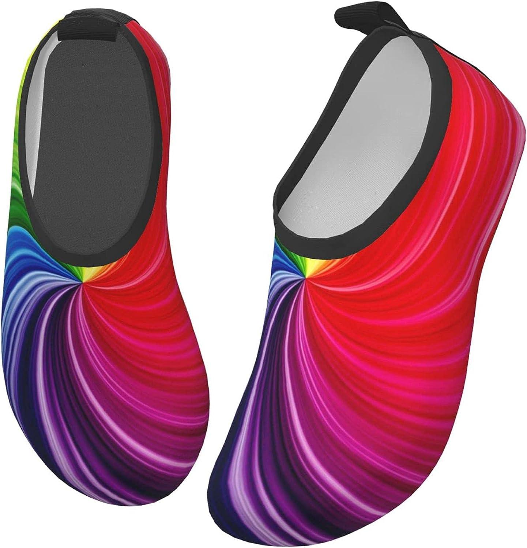 VVEGACE Rainbow Wave Kids Water Shoes Girls Boys, Toddler Non-Slip Quick Dry Barefoot Aqua Socks for Sport Beach Swim Walking Surf Yoga