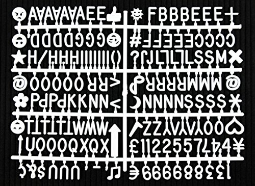 """Letter Board Letter Set - 344-Piece White Letters, Numbers, Symbols & Emojis for Changeable Felt Letter Boards - Multiple Colors/Sizes Available (3/4"""" White)"""