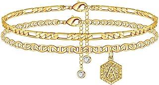 دستبند ابتدایی مچ پا Memorjew برای زنان ، طلا و جواهر مچ پا اولیه دو لایه طلایی برای زنان دختر نوجوان