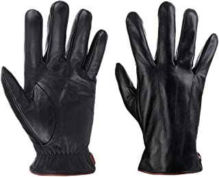 Winter Leather Gloves for Men, Full-Hand Touchscreen Warm Driving Gloves