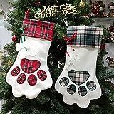 XONOR Christmas Stockings - 2Pcs Large Pet Paw Pattern Hanging Stockings for Christmas Decoration (Blue & Red)