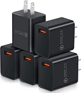 Quick Charge 3.0, OKRAY 5 Pack 18W Fast Charging USB Wall Charger QC 3.0 Power Adapter Compatible Wireless Charger, iPhone Xs/XS Max/XR/X/8/7/6/Plus, iPad Pro, Samsung Galaxy S10/S9/S8, LG (All Black)