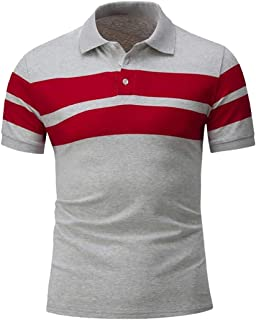 Mens Slim Fit Short Sleeve Lapel Button Pullover Stripe Splicing T Shirt Top