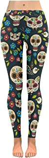 Custom Day of The Dead Skull Floral Stretchy Capri Leggings Skinny Pants for Yoga Running Pilates Gym(2XS-5XL)