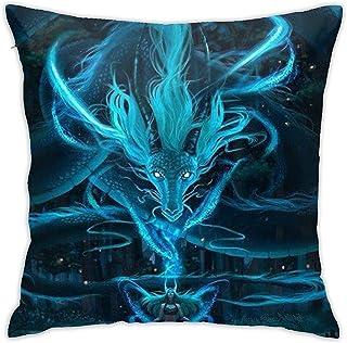 Fundas de Almohada Throw Blue Dragon y Girl Square Funda de Almohada Decorativa Funda de Almohada Cojín para sofá Cama Sofá