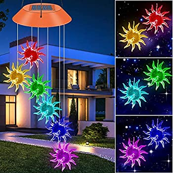 SIX FOXES Sunflowers Solar Powered Wind Chime Outdoor Color-Changing Mobile Wind Chime Hanging Lights Romantic Décor Solar Lamp for Porch/Patio/Garden/Yard Gifts idea for Mom Grandma