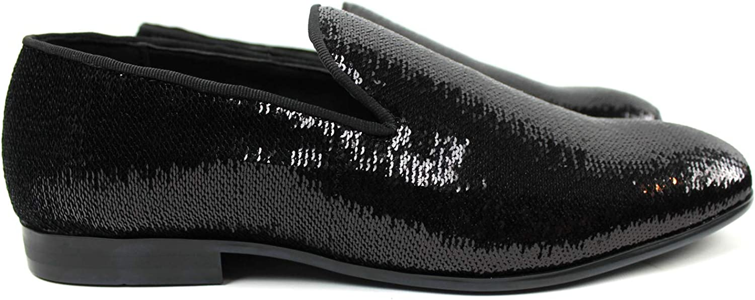 Royal Mens Smoking Slippers Slip On Loafers Studded Sequin Rhinestone Dress Shoes