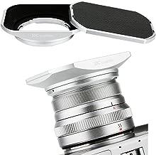 JJC Bayonet Square Metal Lens Hood Shade for Fuji Fujifilm Fujinon XF 35mm F2 & 23mm F2 Lens on X-T3 XT3 X-H1 X-Pro2 X-Pro1 X-T2 X-T1 X-T20 X-T10 X-E3 X-T100 as LH-XF35-2, ABS Slide-in Hood Cap Silver