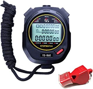 LAOPAO Stopwatch,1/100th Second Clock Daily Rainproof Digital Timer for Sports Match,Competition,Coach,Referee,Training,Timing (YS-860)