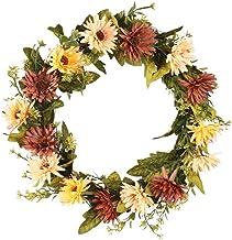 KESYOO Autumn Wreath Chrysanthemum Wreath Seasonal Wreaths for Front Door Decorations (Beige Coffee)