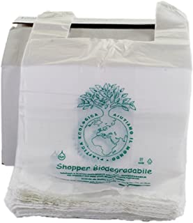 500 PZ BUSTE BIODEGRADABILI MANICO COMPOSTABILI MINI 23X40 SHOPPER